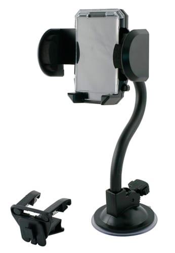 Muvit/MCA universaali puhelinpidike autoon, joka on helppo kiinnittää auton tuulilasiin imukupilla tai ilmastointiritilään.